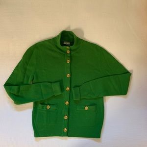 CHANEL - Kelly Green Gold Buttons Vintage Cardigan